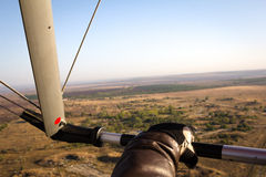 Hand paraglider pilot holding the bar Royalty Free Stock Images