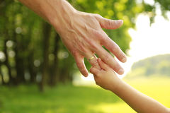 Hand of parent and child in nature Royalty Free Stock Photo