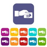 Hand with parking ticket icons set Stock Image