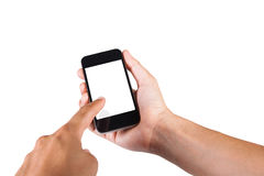 Hand a part of body man holding smartphone isolated Stock Photos