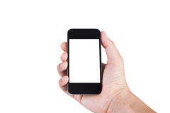Hand a part of body man holding smartphone isolated. Stock Images