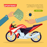 Hand Passing Key. Process of Buying Motorbike. Illustration of buying or selling red sportbike web banner. Hand passing key and giving money on yellow background Stock Images