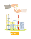 Hand Passing Key. Process of Buying Plant. Sale Royalty Free Stock Photography