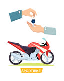 Hand Passing Key. Process of Buying Sportbike royalty free illustration