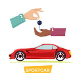 Hand Passing Key. Process of Buying Sportbike. Sportcar  red automobile and hand passing key. Process of buying or renting sports car. Vector illustration of Stock Photography