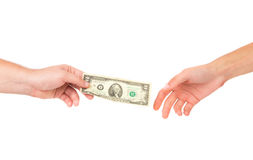 Hand passing money. Royalty Free Stock Photos