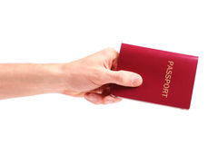 Hand with passport Stock Image