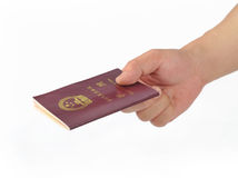 Hand with passport Royalty Free Stock Photos