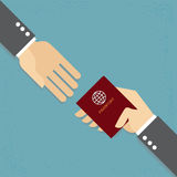 Hand and Passport. Businessman giving passport to other Royalty Free Illustration