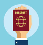 Hand With Passport Vector. Illustration Flat Stock Royalty Free Stock Images