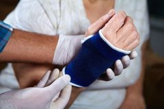 Hand of patient with bandage Stock Photo