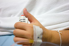 The hand of a patient in hospital holding a help or assist call Stock Images