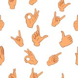 Hand pattern, cartoon style. Hand pattern. Cartoon illustration of hand vector pattern for web Stock Photo