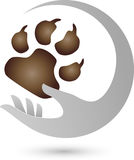 Hand and paw, dogs and keeper logo. Hand and paw, colored, dogs and keeper logo vector illustration