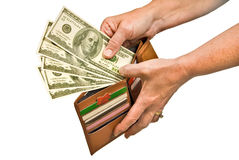 Hand Paying With Cash From Wallet Royalty Free Stock Photography