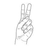 Hand peace line art vector. Detailed hand vector, line art style, hand peace gesture Stock Photos
