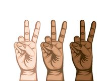 Hand peace and love symbol Royalty Free Stock Images