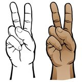 Hand Peace Sign Vector Illustration. Human hand peace sign gesture, crisp vector illustration with soft smooth tones, in both black line art and full color for Royalty Free Stock Image