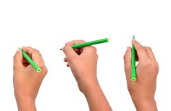 Hand with pen. Three different hand position with pen - added clipping path Royalty Free Stock Image