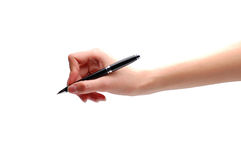 Hand with pen Royalty Free Stock Photos