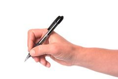 Hand and Pen. Woman's hand holding a black pen isolated on white Stock Photos