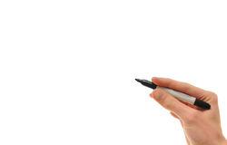 Hand Pen and Blank Copyspace Royalty Free Stock Photography