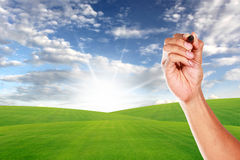 Hand with pen on blue sky and green grass field Stock Image
