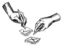 Hand with pen and check boxes. Vector illustration Royalty Free Stock Images