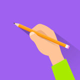 Hand with pen copy space flat design vector Stock Images