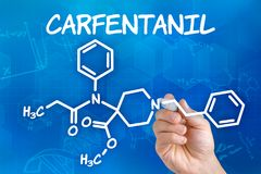 The chemical formula of Carfentanil Royalty Free Stock Photo
