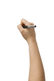 Hand with pen drawing Stock Image