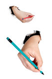 Hand with pen Royalty Free Stock Images