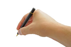 Hand With Pen Isolated on White Background Royalty Free Stock Image