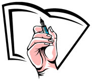 The hand with a pen Stock Images