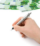 Hand with pen and money Royalty Free Stock Image
