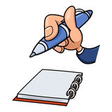 Hand with pen and notepad 2 Stock Photo