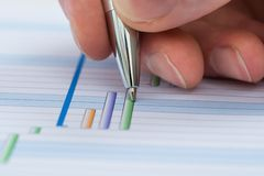 Hand with pen over gantt diagram Royalty Free Stock Photography