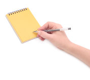 Hand with pen and paper Royalty Free Stock Photography