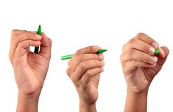 Hand with pen - path. Pen with hand in three position - clipping path added Royalty Free Stock Images