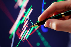 Hand and pen pointer, chart Royalty Free Stock Photo