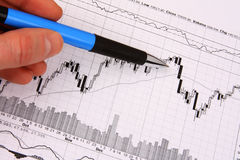 Hand with a pen pointing at financial chart. Hand with a blue pen pointing at a financial chart Stock Images
