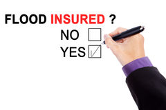 Hand with pen and question of flood insured Stock Photography