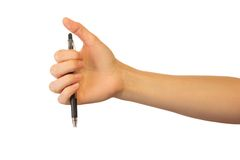 Hand with pen on white Royalty Free Stock Photography