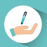 Hand pen writing financial icon. Vector illustration eps 10 Stock Photos