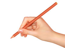 Hand with pen writing on paper. Vector Royalty Free Stock Image