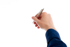 Hand with pen is writing in white space Royalty Free Stock Image