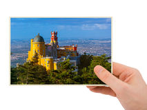 Hand and Pena Palace in Sintra - Portugal my photo. Isolated on white background Royalty Free Stock Photography