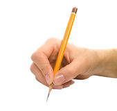 Hand with pencil. On white background Stock Image