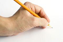 Hand with pencil Stock Photos