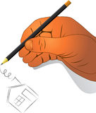 Hand with a pencil Royalty Free Stock Photo